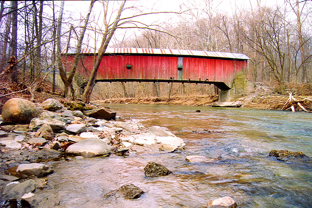 Rolling Stone Covered Bridge, Putnam County, Indiana, Photographed March 1999.