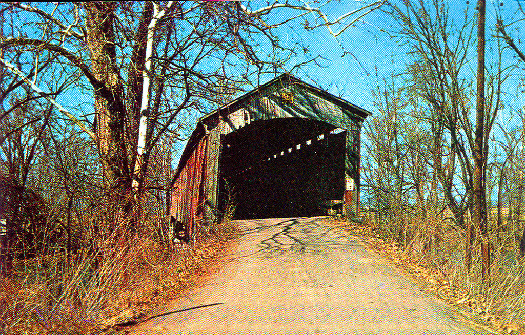 Postcard view of Shieldstown Covered Bridge prior to bypass.