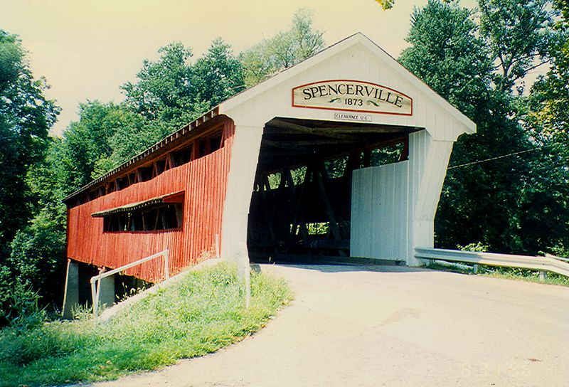 Spencerville Covered Bridge in NE Indiana.  Photographed in August 1996.