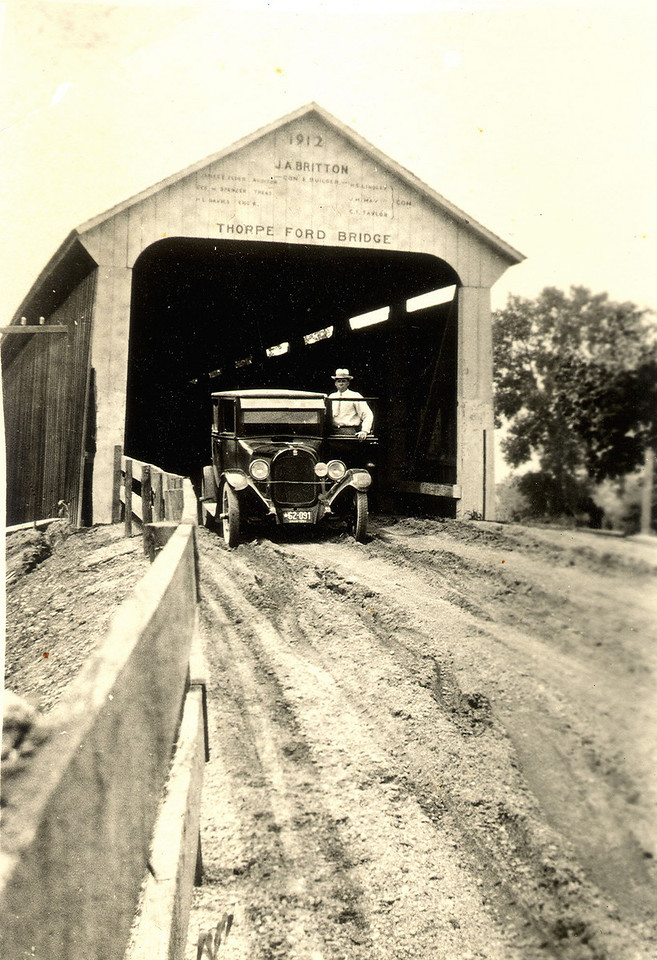 Original Photograph of the Thorpe Ford Covered Bridge in Parke County, Indiana.  Date on back of photo is 1926.