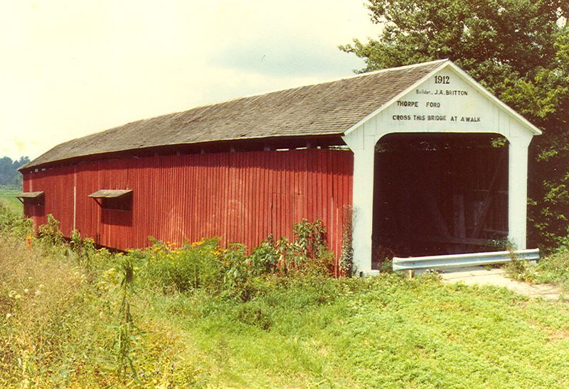 Thorpe Ford Covered Bridge, Parke County, Indiana.  Photo from July 1981.