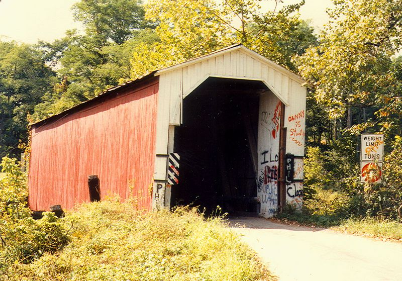 Wallace Covered Bridge, Fountain County, Indiana.  Photographed in 1982.