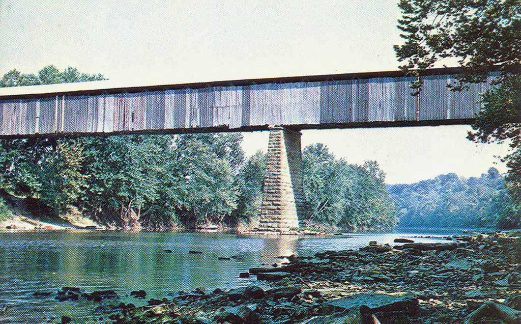 The long and tall Williams Covered Bridge located in Lawrence County, Indiana.
