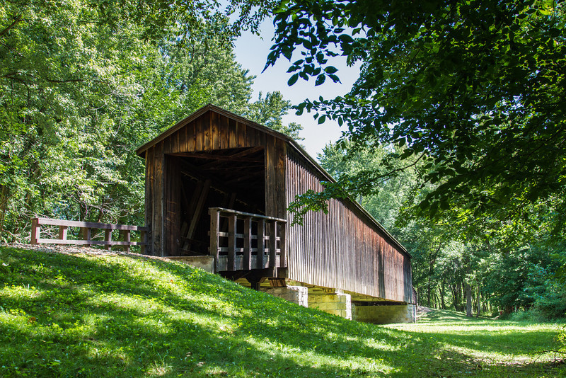 Locust Creek Covered Bridge. Located in Linn County Missouri 3 miles west of Laclede just off of highway 36. Built in 1868, it is the longest surviving bridge in Missouri. This bridge has been a State Historic Site since 1967.