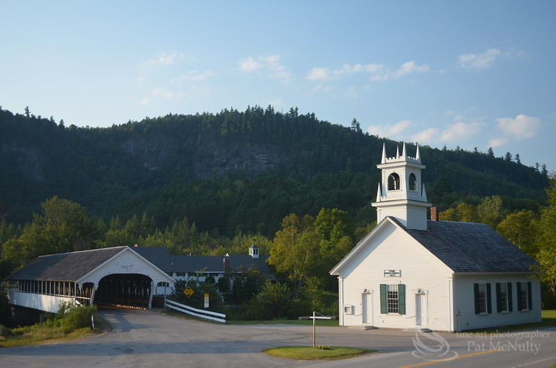 Stark New Hampshire Old Church Covered Bridge Picture