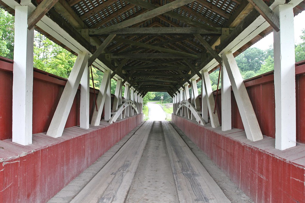 1881 Glessner Covered Bridge is a Burr Truss structure, 90' long & 12' wide