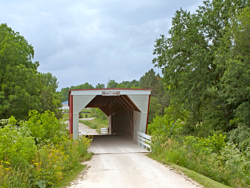 Cedar Covered Bridge Replica of original 1883 Bridge that was destroyed by arson in 9/3/2002. This bridge was built in 2004<br /> 76 ft long.  Located in Madison County, IA