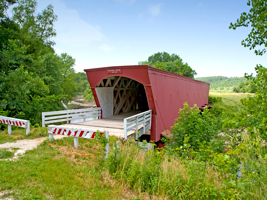 Holliwell Covered Bridge,  122 ft. long,  located  in Madison County, IA.