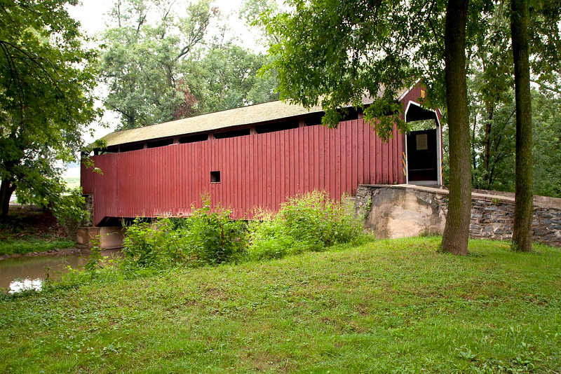 Built in 1846 for $1,115. Steel I beams were installed under the floor to help support the county's<br /> oldest bridge still in use.