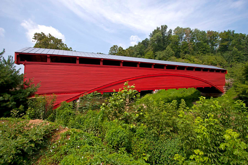 Barrackville Covered Bridge located near Fairmont, WV. Was built in 1853 and is 148' long.