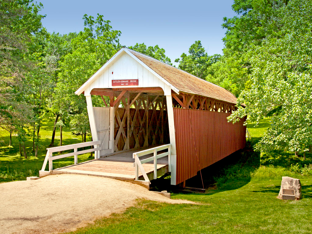 Cutler- Donahoe Covered bridge in Winterset's City Park. 1870