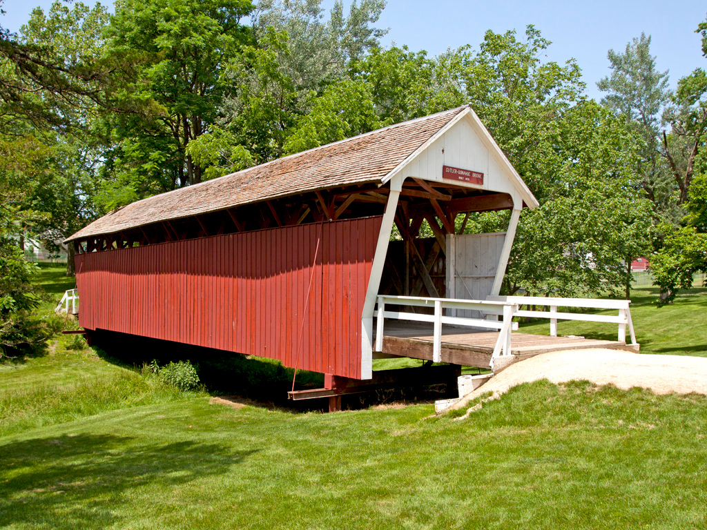 Cutler-Donahoe Covered Bridge is located in Winterset's City Park, Madison County, IA.<br /> 79 feet long.  Built in 1870.