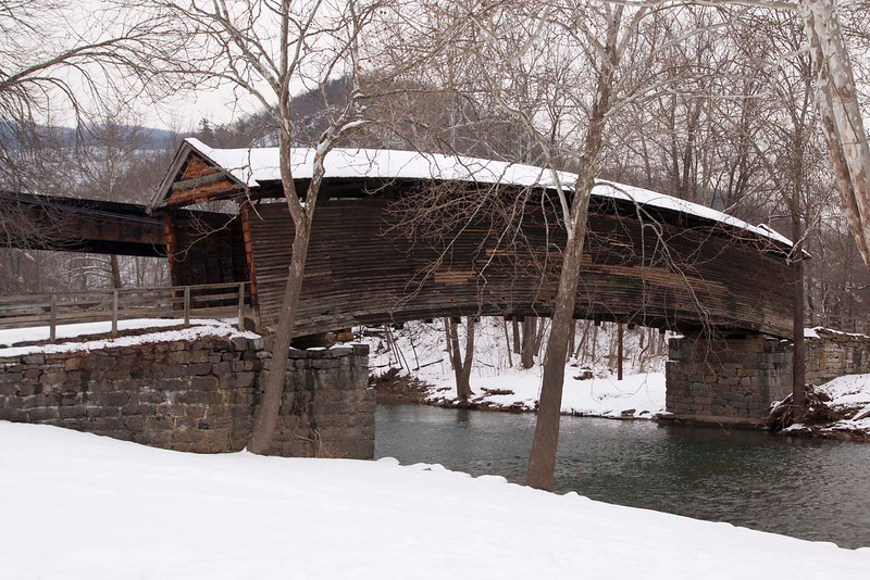 Humpback Covered Bridge gets it's name from having a 4' higher center than the ends of the 100' span.