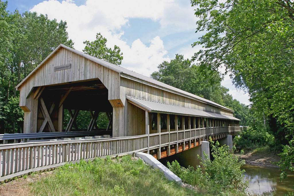 Built in 1999. The covered bridge is wide enough for 2 lanes and has a walkway on the southside.<br /> The bridge is in Williams County, Ohio.
