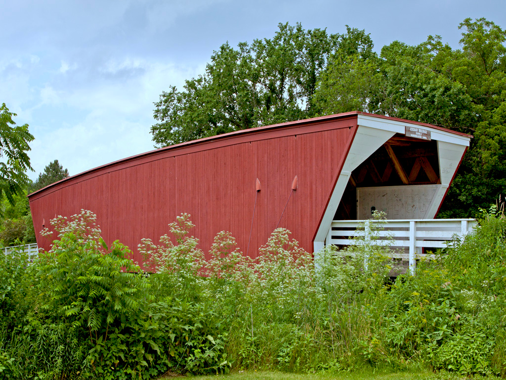 Cedar Covered Bridge 76 ft. long,  built in1883, Destroyed by arson Sept. 3, 2002. This replica was dedicated October 9, 2004