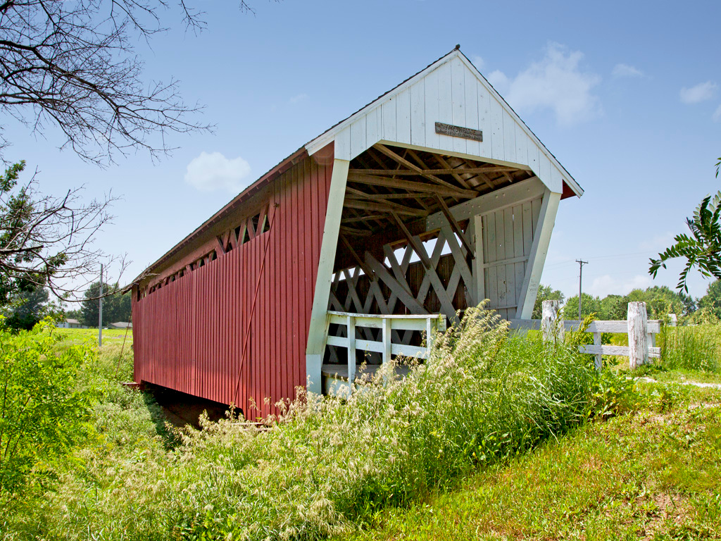 Imes Covered Bridge,  81 ft. long,   Located over a ravine in a park near St. Charles, IA