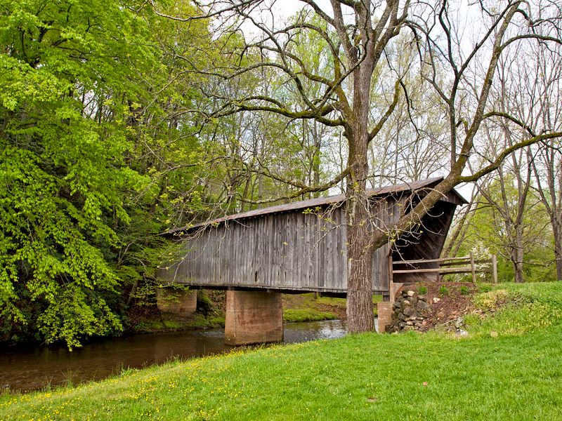 Bob White Covered Bridge is an 80 ft truss bridge over the Smith River near Route 8 south of Woolwine, Virginia
