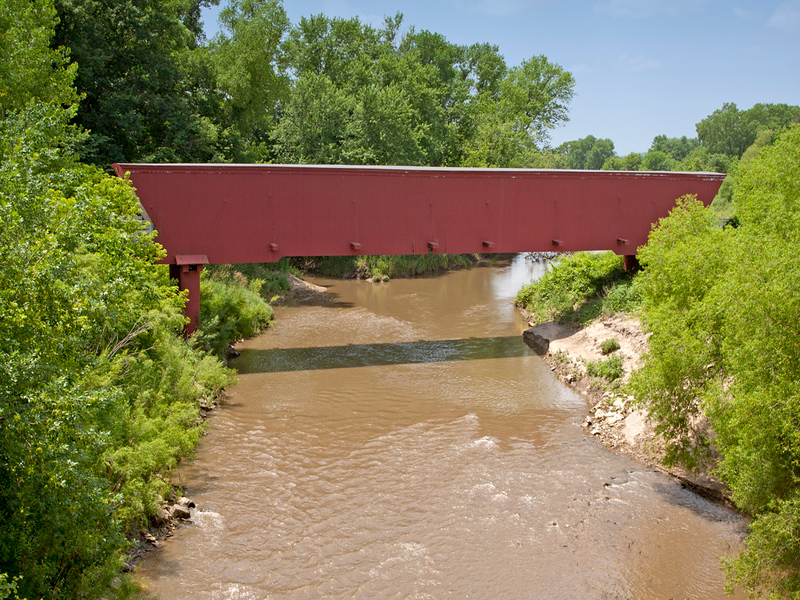 Holliwell Covered Bridge, 122 Feet long,  Located in Madison County, IA.