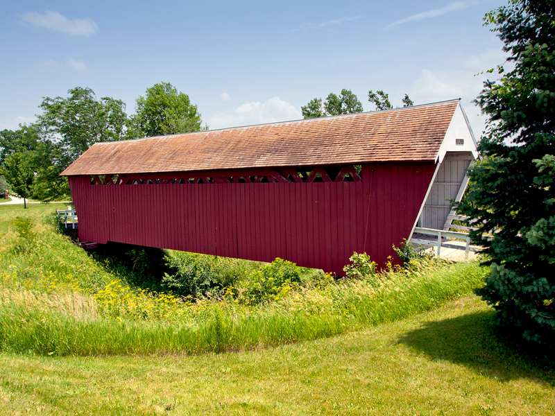 Imes Covered Bridge, Located in a park near St. Charles, IA. 81 ft long.