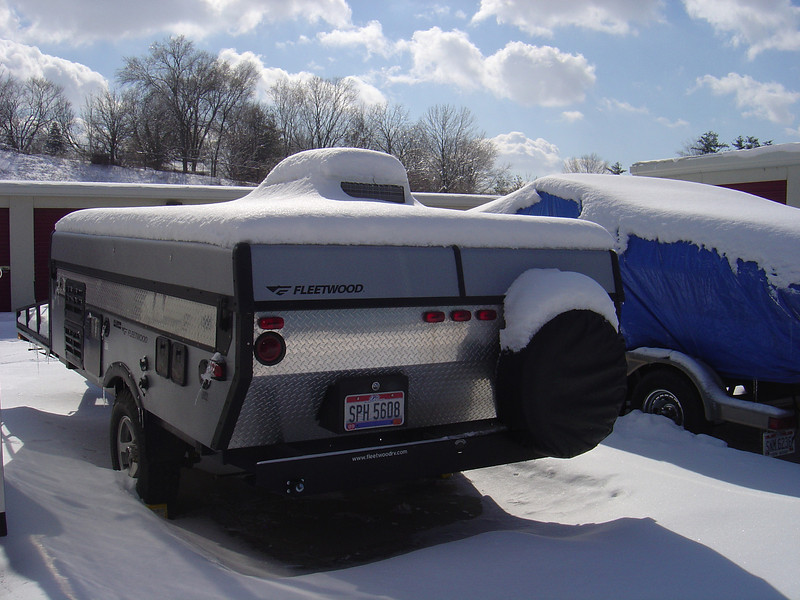 The uncovered PUP from the rear. Note my neighbours boat is covered by a tarp.