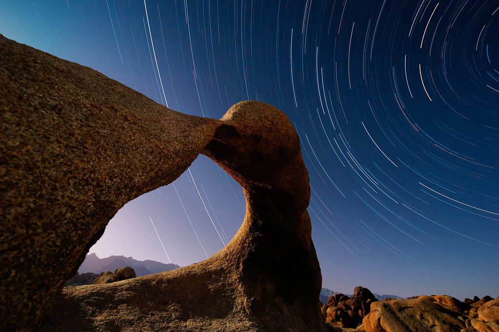 Alabama Hills, BLM eroded granite formation know as Mobius Arch. Eastern Sierra, California
