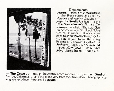 Recording  Engineer/Producer magazine  1980  cover/interior photo and book review