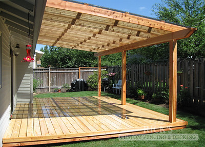 Wood-Framed Patio Cover with Acrylic Paneling