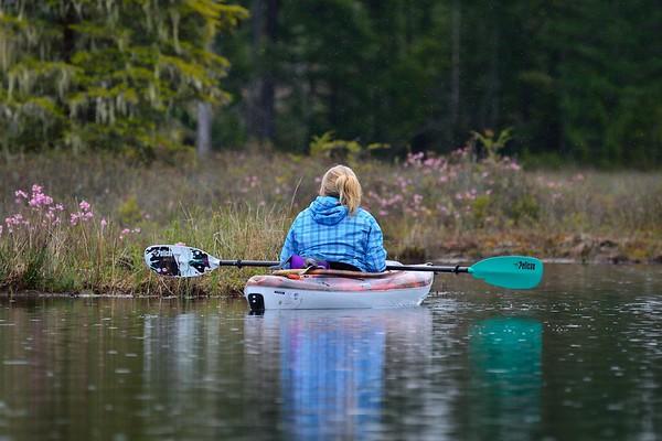 Spring shower kayaking