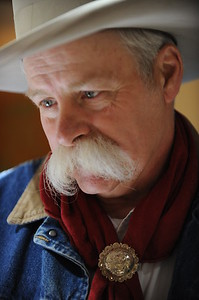 Cowboy Poet and Musician Bimbo Cheney at the 26th annual National Cowboy Poetry Gathering, Elko, Nevada. January 30, 2010.