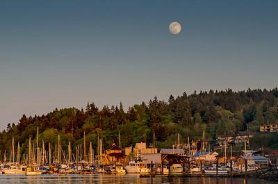 Moon rise over the Marina, Cowichan Bay