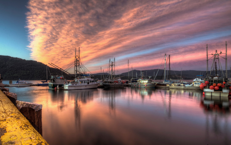 Cowichan Bay sunset off the pier