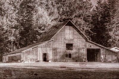 Wood Barn - Topaz Texture Effects 2 - 50's Print - Cowichan Valley, Vancouver Island, British Columbia, Canada