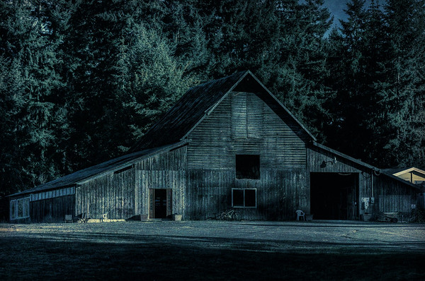 Wood Barn - Topaz Texture Effects 2 - Midnight Lake - Cowichan Valley, Vancouver Island, British Columbia, Canada