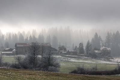"Foggy Winter Farm Scene - Cowichan Valley, Vancouver Island, British Columbia, Canada Visit our blog ""The Ethereal Nature Of Winter's Fog"" for the story behind the photo."