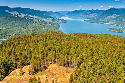 Looking west over Bald Mtn towards the end of end of Lake Cowichan