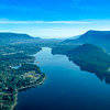 Looking west towards Lake Cowichan townsite area and beyond to Saltspring Island