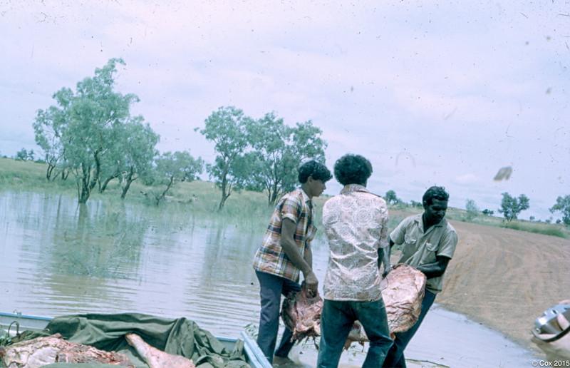 1969 Getting meat during wet season flood