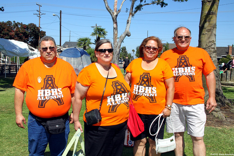 HBHS 'All Years' Reunion Picnic - Lake Park - This group really showed their Oiler spirit with matching t-shirts - Joseph Santibanez (1971), Betty Davis (1975), Sarah (Santibanez) Freed (1974), Harold Hively (1974)