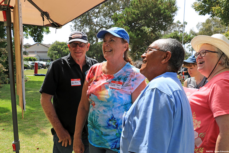 2019-07-28_HBHS Reunion_45_Hal Cady_Jackie Roach Geer_Frank Alvarez_Cindy Howard White.JPG<br /> Huntington Beach High School All-Years Reunion Picnic<br /> <br /> Trying to put names to faces from elementary class photos