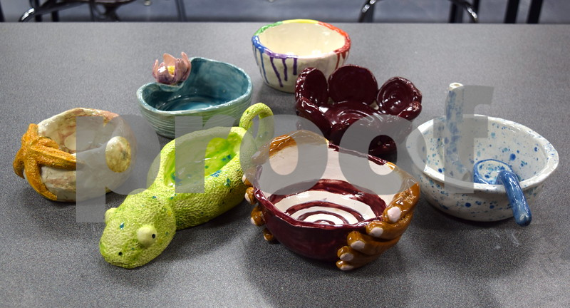 Bowls created by Sycamore High School students as part of the Empty Bowls Project will be sold at an event on April 19 for $10 a bowl. The money raised will be donated to the Sycamore Food Pantry and will be used to purchase food and restock shelves.