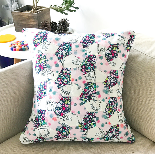 English Paper Piecing - Hexagon Quilted Cushion Cover