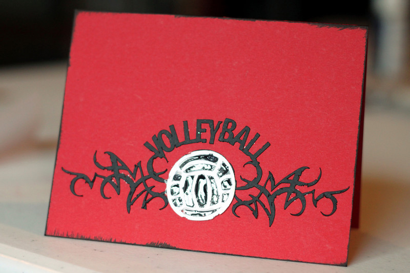 This card I had a happy mistake... and ended up adding dimensional glue to make the volleyball shine!