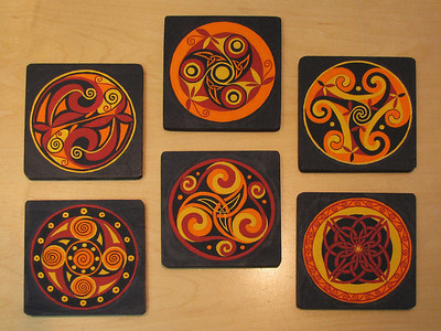 "celtic coasters - click here for more photos (inspired by the book ""Celtic Motifs"" by David Balade)"