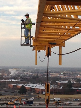On a crane boom -- 2016