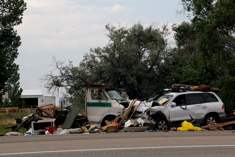 A recreational vehicle and small SUV collided on Eisenhower Blvd. and Larimer Parkway on Friday, July 7, 2017. Eight people were transported to a near by hospital. (Michelle Risinger/ Loveland Reporter-Herald)