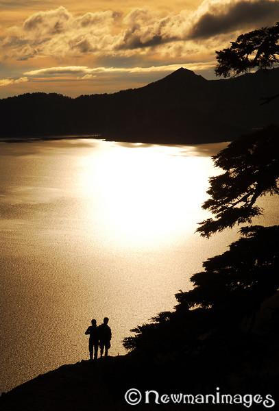 Hikers at Crater Lake