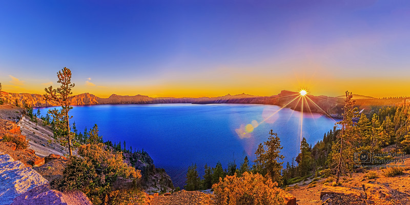 Sunset over Palisade Point, Crater Lake, Crater Lake National Park