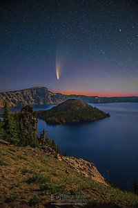 """""""Cosmic Dance,"""" Comet C/2020 F3 (Neowise) over Wizard Island and Crater Lake, Crater Lake National Park, Oregon"""