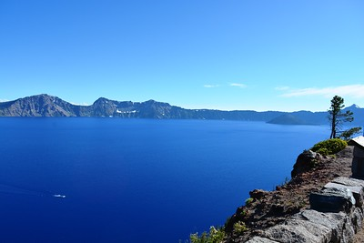 Crater Lake from East Shore Drive with tour boat and Wizard Island in the distance