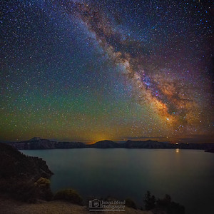 """Charmed Paradise,"" The Milky Way over Pumice Point and Crater Lake, Crater Lake National Park, Oregon"